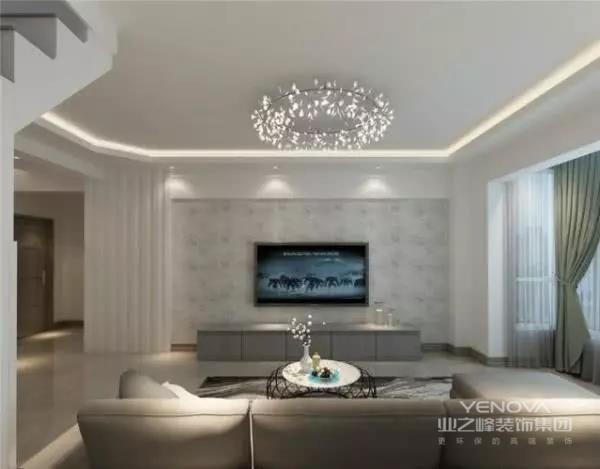 客厅空间以通透明亮的视觉感为屋主带来生活的美好,定制家具与墙面融为一体,以最低的存在感减少饰物对阳光的遮挡。