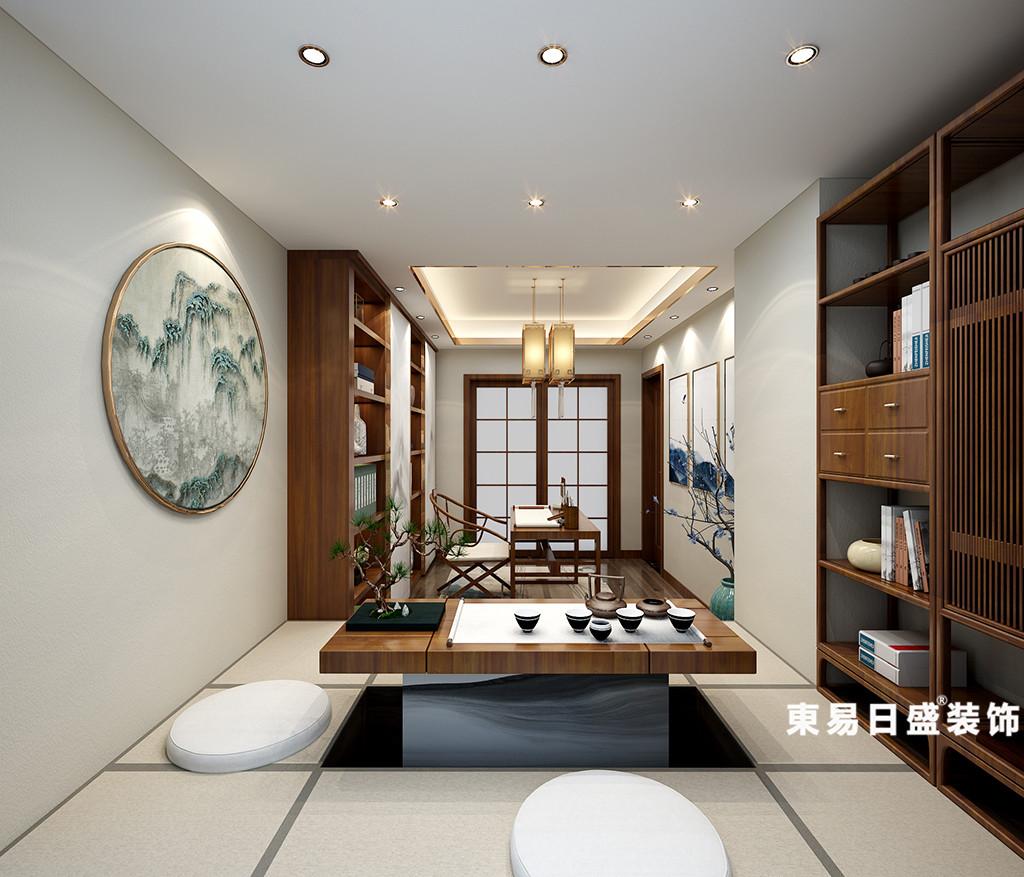 桂林华御公馆复式楼380㎡新中式风格:茶室装修设计效果图