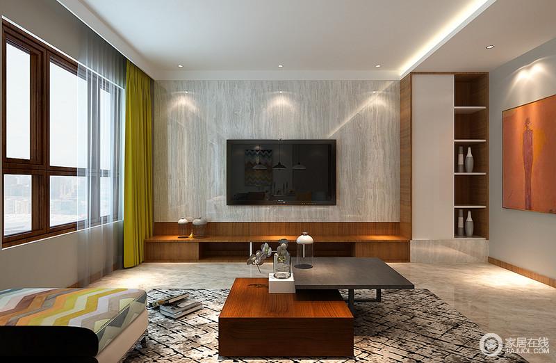 客厅大面积采光,令空间舒朗明快;电视墙的设计匠心独运,灰白理石墙板大面积装饰,底部则与电视柜用棕黄木相连,并延展至置物架;置物架则在材质组合中呼应电视墙,配上装饰画的烘托,整体凸显简约质感。