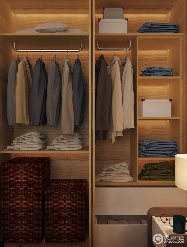 合理的内部规划也为老人提供了较多的收纳空间,衣柜的科学布局,让收纳也成为一种美学。
