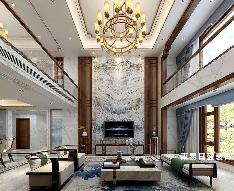 桂林華御公館復式樓380㎡新中式風格:客廳裝修設計效果圖