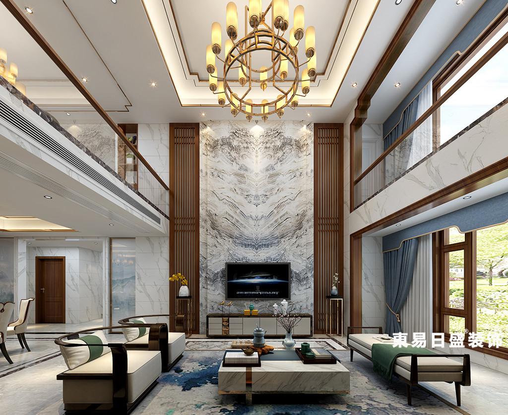 桂林华御公馆复式楼380㎡新中式风格:客厅装修设计效果图