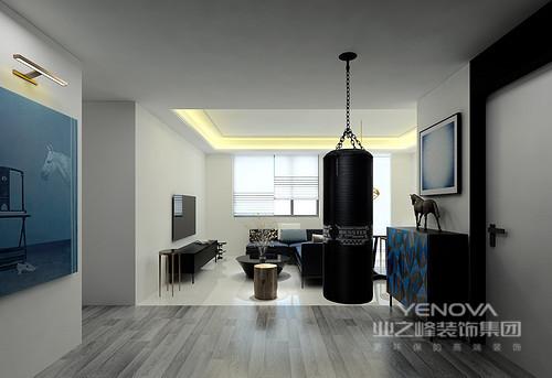 现代是这个空间的最大魅力,虽然空间建筑设计较为简单,但是精心布置的每一件家具都是设计师对前沿设计洞察的结果;白色为底,黑色沙发及茶几为饰,主辅有序,铁艺几何吊灯调和了前卫的空间。