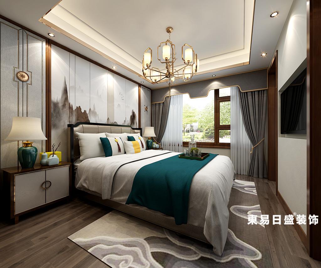 桂林华御公馆复式楼380㎡新中式风格:主卧室装修设计效果图