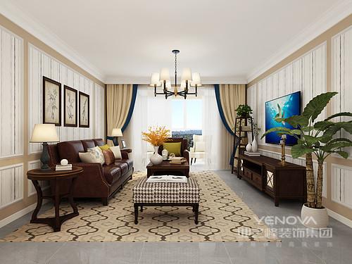 客厅配以雪茄印象的沙发散发浓郁地酒红色,搭配米色的墙漆,云朵拉灰地砖,让空间亦暖亦冷,简练素净;驼色几何地毯打破了纯色的单调,却不破坏的平静,米色窗帘搭配美式家具,平衡出温馨与美式底蕴,让整个空间更为精致。