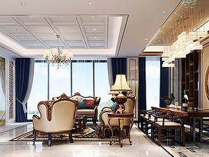桂林金地怡和東岸復式樓320㎡歐式混搭裝修風格