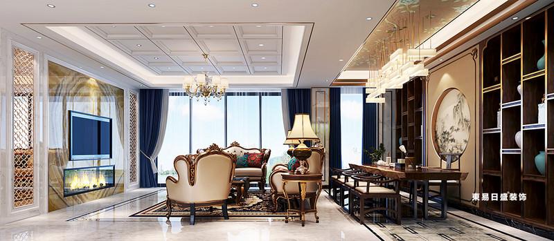 桂林金地怡和東岸復式樓320㎡歐式混搭風格:客廳裝修設計效果圖