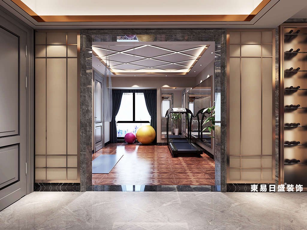 桂林金地怡和东岸复式楼320㎡欧式混搭风格:健身房装修设计效果图