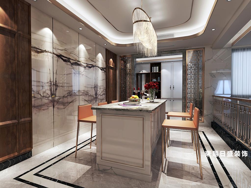 桂林金地怡和东岸复式楼320㎡欧式混搭风格:餐厅吧台装修设计效果图