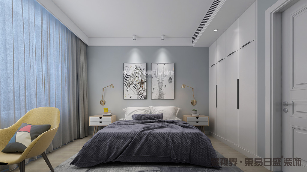 卧室装修色彩很平和。这种风格的卧室装修都是采用淡雅的颜色,没有激烈的颜色,所以睡觉休息的体验更好。