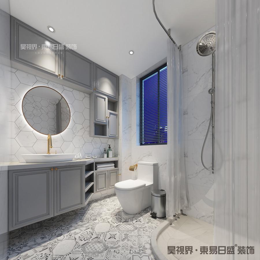 灰色柜子和白色的墙砖给人一种洁净感,将现代简约风格的特点发挥到极致。