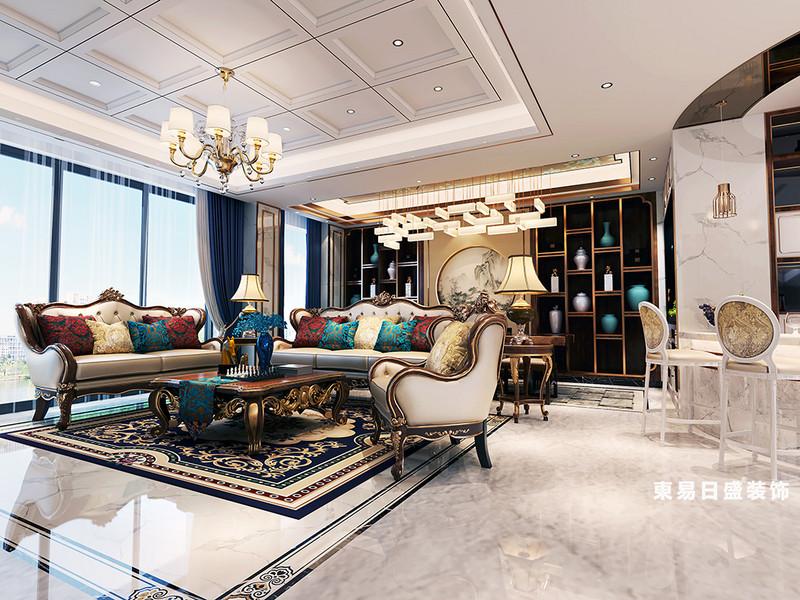 桂林金地怡和東岸復式樓320㎡歐式混搭風格:客廳背景墻裝修設計效果圖