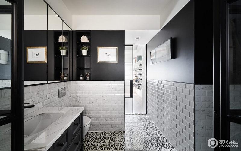卫生间打破了单一的铺砖方式,干区采用上下拼接的方式,地面地砖,墙面是1.8高墙砖,拼接乳胶漆,形成拼接效果,黑白之间让整个空间显得更时尚,同时内置的柜子增加了花器作为点缀,挂画让空间的艺术气息更为浓厚。