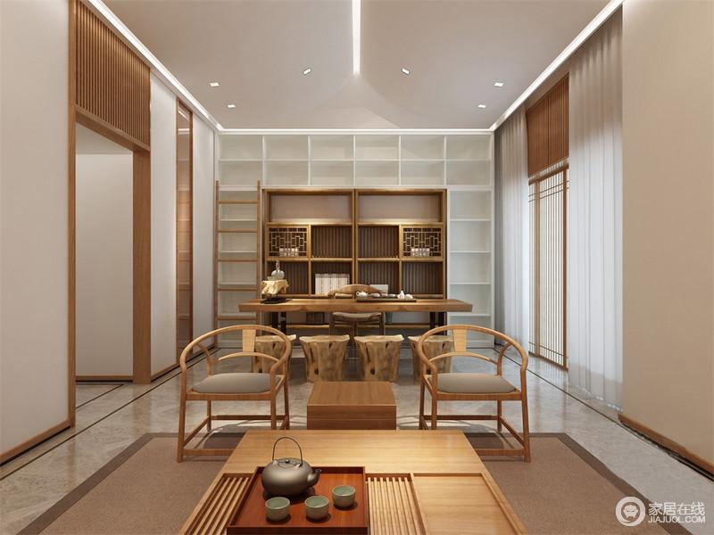 休闲室中有条不紊地将功能进行区别,设计师将中式书房的古朴和温实以实木家具的沉稳来体现,与白色置物柜混搭出现代简洁;而驼色地毯实木茶台与中式圈椅以清简的设计,愈显生动明媚。