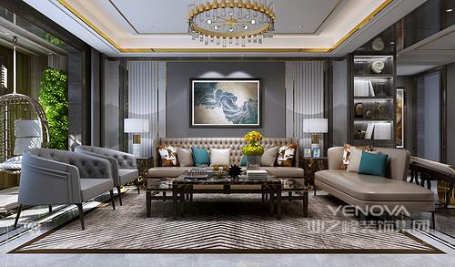 客厅以灰色漆粉刷墙面,背景墙通过金属边框和白色石膏来加重空间的层次与色彩冲击,金属线与吊顶的框线让空间多了轻奢;现代古典沙发以咖色和灰色演绎中性与复古,大地色条形地毯简约之中,让空间更为沉稳,黑白组合的边桌与台灯带着质感与时尚,让整个空间格外别致。