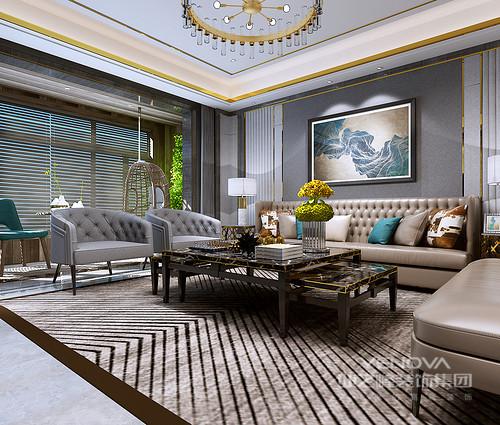 客厅的灰色调给人带来一种沉寂,挂画的现代派无疑给空间带来了格调;百叶窗的线条感并没有影响空间的采光,却与实木吊椅营造自然朴素的氛围,让客厅在古典之外,多了一份休闲。