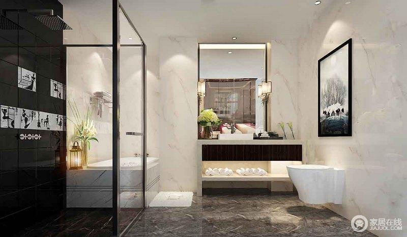 卫浴间以黑白灰三色为主,有条理的色彩规划和不同材质的组合更显独特;灰色地面通过与黑白墙面的结合,多了些许现代感,并以色彩来代表功能性,更是以强烈的艺术节奏将分区设计升华到新视感。