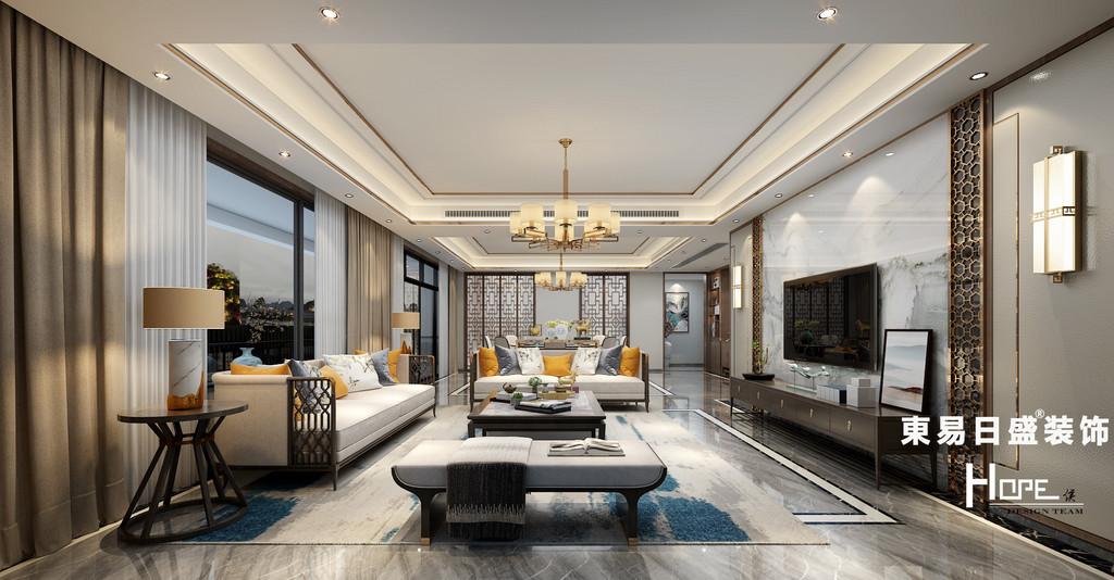 桂林兴进•漓江郡府四居室260㎡新中式风格:客厅装修设计效果图