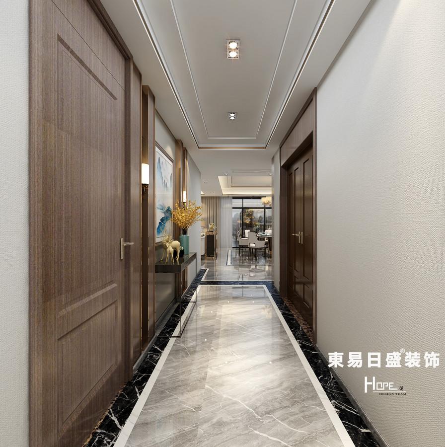 桂林兴进•漓江郡府四居室260㎡新中式风格:过道装修设计效果图