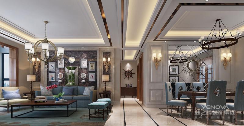 风格诠释:整个空间以大理石和护墙板为基调,通过明亮的对比以及金属的运用,营造出极简恬适的居家风格,设计师在空间也对空间结构关系做了很大的调整,运用隐形门和电视墙的完美结合,在美观的同时让客户在繁重的工作后可以享受到生活的情趣。