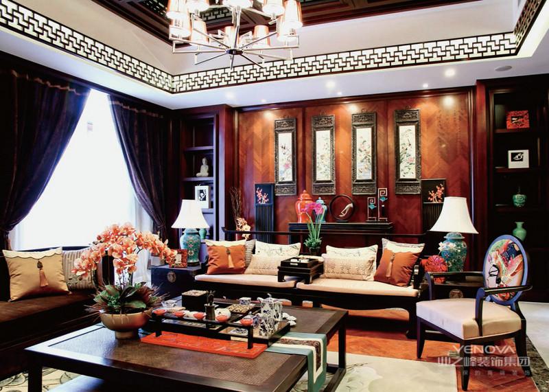 本案现代中式风格装修案例来自红蚂蚁装饰南京公司,在设计中将现代与中式,时尚与传统相结合,简单大方又不失时代韵味,整体风格典雅大气,特别是电视背景墙的大致,不管是沙发背景墙还是餐厅背景墙都透露着中国传统文化的底蕴。