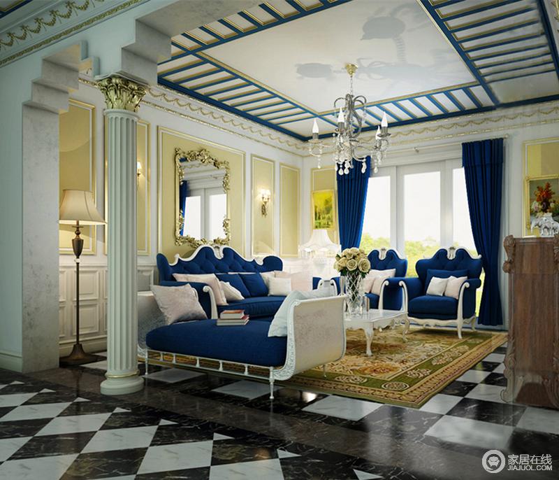 丰富的色彩搭配彰显出华丽雍容的空间姿态,客厅装饰繁复优美,雕花刻金细腻矜贵,恢弘的科林斯罗马柱更添气势的豪华,层次鲜明的构筑出空间上的浪漫优雅和十足贵气。