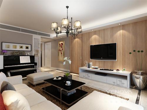 客厅线条感强烈,从墙体的简洁造型到木纹电视墙的温实,无不彰显着简约艺术;白色电视柜和黑色茶几以经典之色,与黑色钢琴和白色屏风给予空间轻时尚,驼色地毯与素色沙发温情无限。