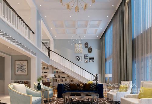 设计师利用蓝白双色为建筑结构定色,几何结构的白吊顶与蓝色立面以轻色勾勒了清新;而设计风格迥异的两款单人沙发以蓝白之色营造着优雅,咖色双人沙发与几何地毯碰撞出沉稳,又添贵气。