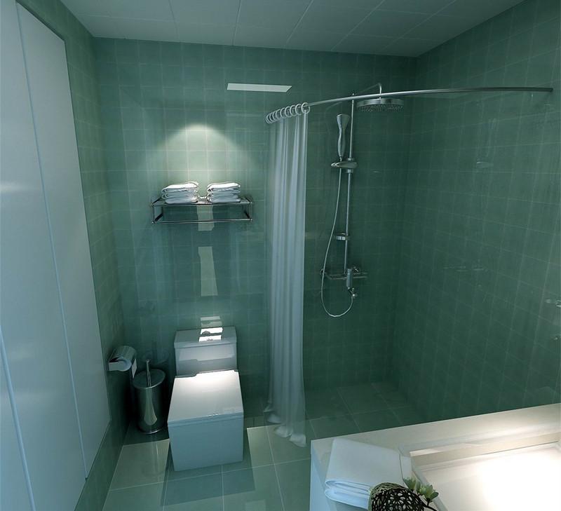 卫生间使用冰激凌色调的清爽蓝,置身其中仿佛有清新海风涌动。为了做干湿分区,又不影响空间的活动区域,以浴帘的形式,隔离出了淋浴区。