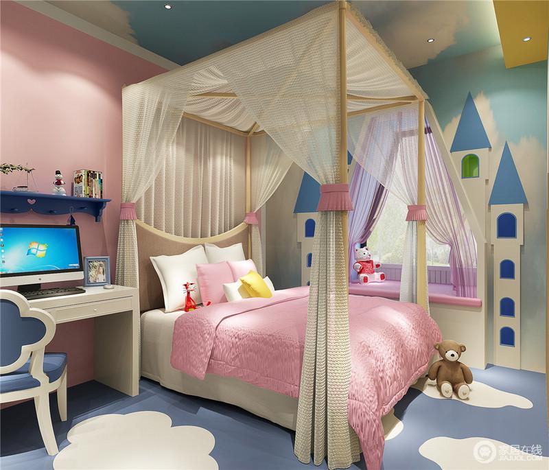 柔和饱满的红、白、蓝营造了轻快活泼的儿童房,大面积的蓝白卡通图案,将纯净清新的城堡融合进卧室里,轻盈浪漫的四柱床将公主的梦幻彰显出来,空间充满了童趣和活力。