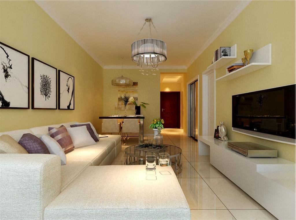 淡淡的鹅黄色墙面充满了清新的活力,设计师用灰白的布艺沙发与白色的电视柜搭配,黑白画作与搁架点缀,将实用与装饰兼得;金属玻璃茶几与灯饰上下辉映,硬朗的材质为空间平添时尚的质感。