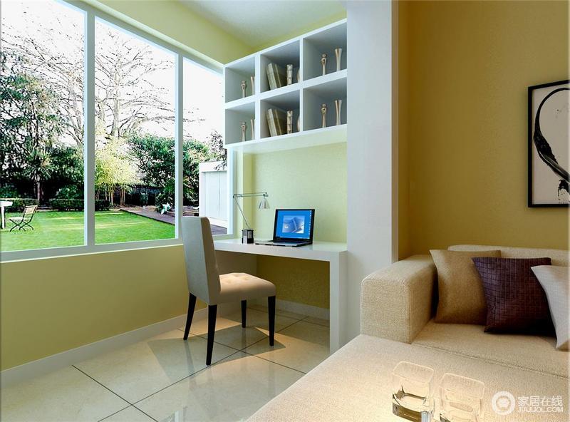 大面积的玻璃窗,带来充足的自然光线,同时引入室外的青翠绿意,为空间注入闲适安逸的气息;阳台空间宽敞,设计师并未用来晾晒衣物,而是利用书桌和吊柜,打造出小书房,使一隅得到合理利用。