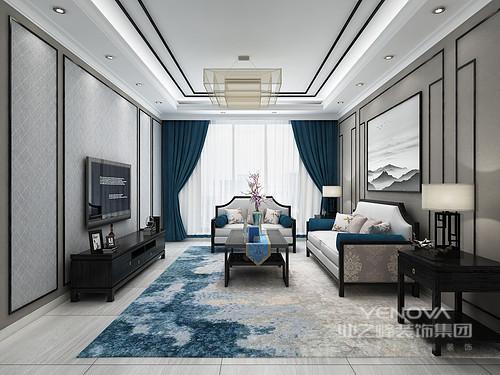 客厅线条利落简洁,从背景墙便可感受到几何艺术,在加上材料与用色上的迥异,带来一种动律;新中式家具不仅质感上乘,也因为软装和配饰的衬托,更显端庄和大气。
