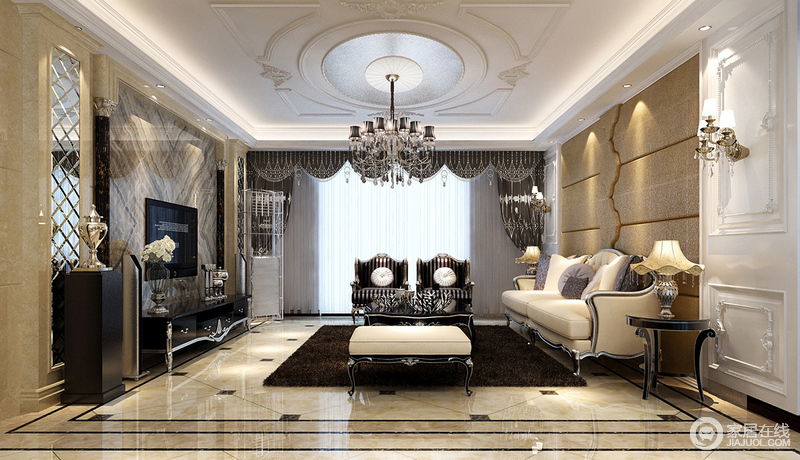 客厅采用了简洁硬朗的线条来反衬欧式元素的精奢,从方圆吊顶的和谐到灯带和欧式吊灯的轻华,搭配驼色系的背景墙和拼接几何砖石,让空间不断升温,再加上巴洛克沙发与家具组合,让空间极具复古底蕴,可以说,沉稳而奢贵。