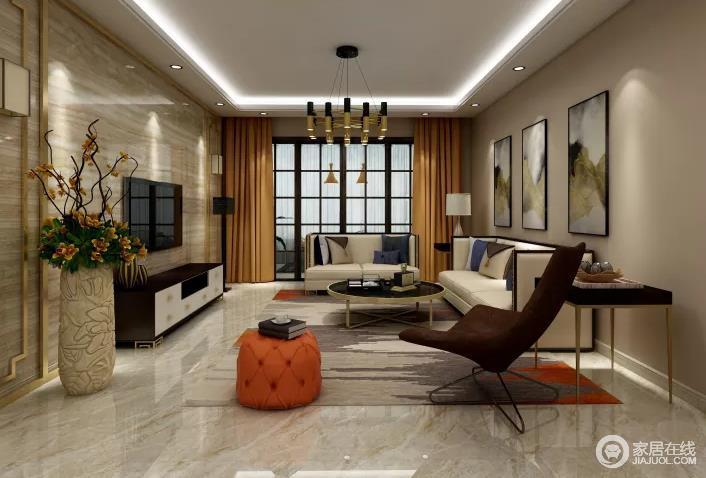 客厅的背景墙以驼色砖石来表现自然朴素,与新中式云墨画构成中式格调;新中式沙发因为咖色单椅、橙色坐墩而多了时尚,驼色地毯与橙色窗帘为空间带来不一样的色彩,却与灯具、茶几让空间更为轻奢。