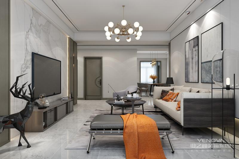 白色的墙面、白色的家具和沙发,让客厅看上去格外简洁开阔。无须华丽的装饰,无须贵重的家具,简单的颜色搭配带来的明媚感将整个客厅的拘谨一扫而空。极简的黑与白,塑造优雅的同时又具有现代设计感。
