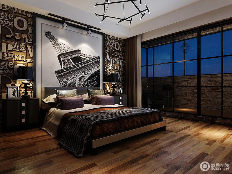 卧室的设计也传承了工业设计的元素,字母拼贴的背景墙极具潮流感,再加上铁塔的黑白摄影作品,更令空间强化工业气息;原木地板的空间倍显温实,床头柜和台灯的对称设计兼具和谐和实用之趣,沉稳的床品让你休息得更为踏实。