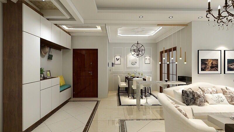 鞋柜是一进门的视觉重点,若设计出彩,那么在颜色、造型和风格上都能与整体的居室风格相统一。本案例中增加了许多吊柜,增加了储物功能。