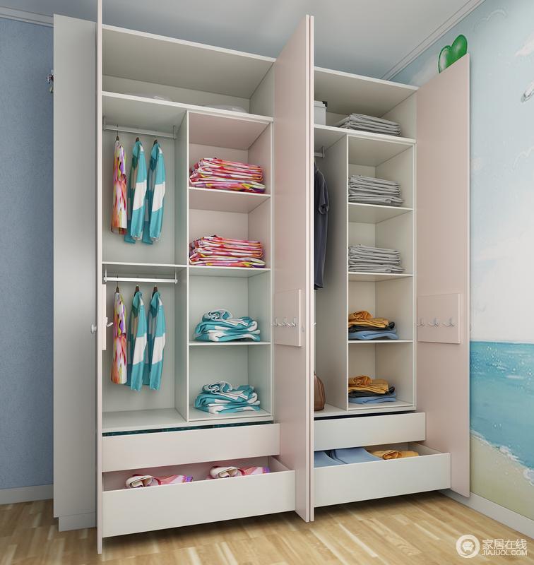 衣柜功能划分合理,满足二人同时使用。