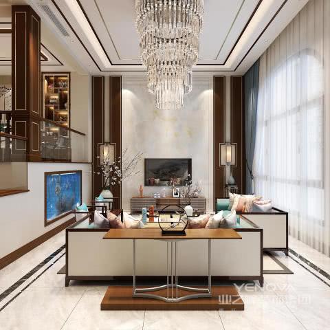 客厅主要空间多采用中式元素,深色的木色家具,纹理大气磅礴的石材;软装采用一些梅花图案,青花瓷的盘子点缀,很好地表达了中式韵味又不至于过于繁琐复杂。