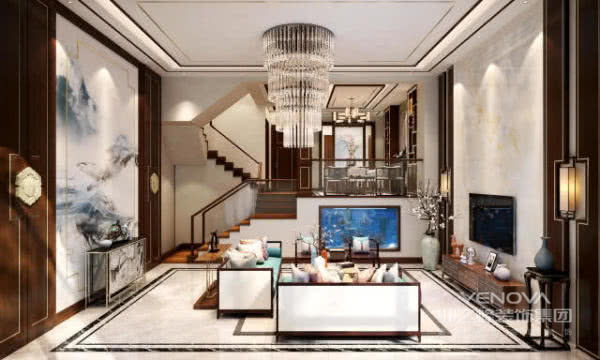 客厅以沙发背景墙山水画,电视背景墙以大理石为主,方形的吊顶,体现强烈的时间冲击。