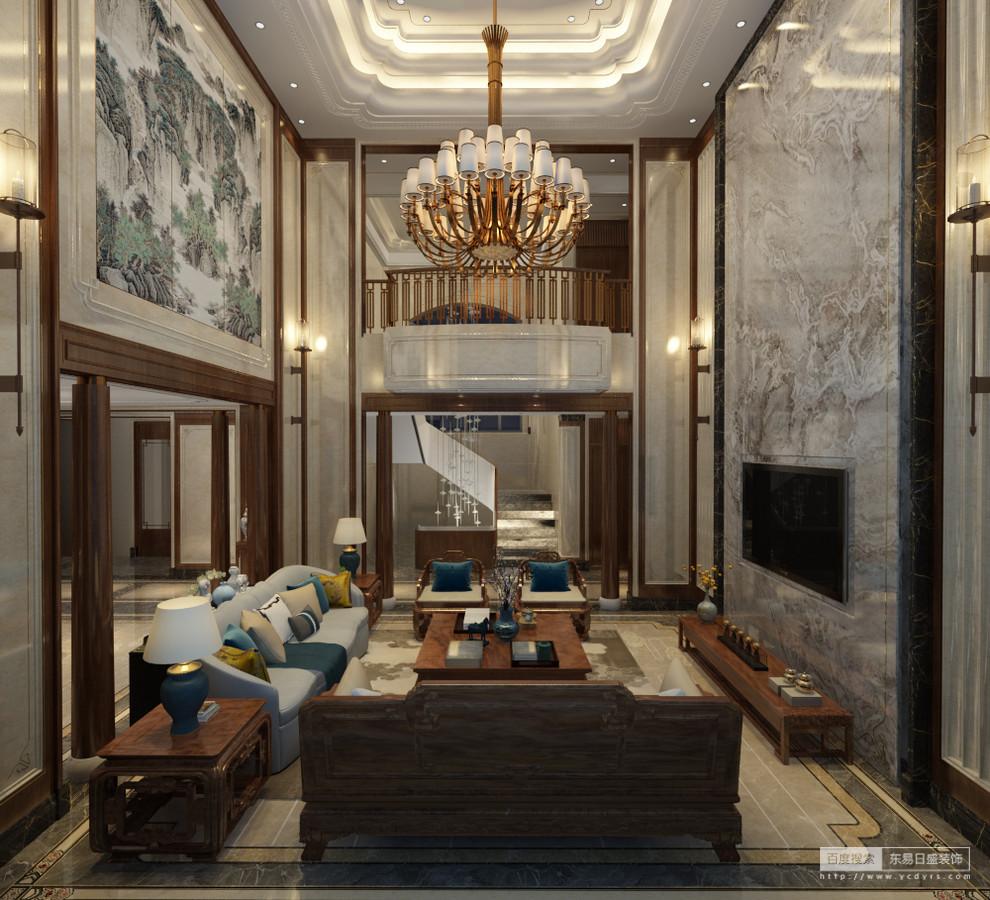 本案中客厅沙发背景的中国山水画彰显出屋主的文化素养与欣赏水平,搭配带纹 理的大理石使高贵进一步升华;硬朗的金属线条与朴素的木饰面,展现出动与静、 刚与柔的完美融合。这一切反映出屋主的高尚品位,同时丰富空间的文化底蕴。