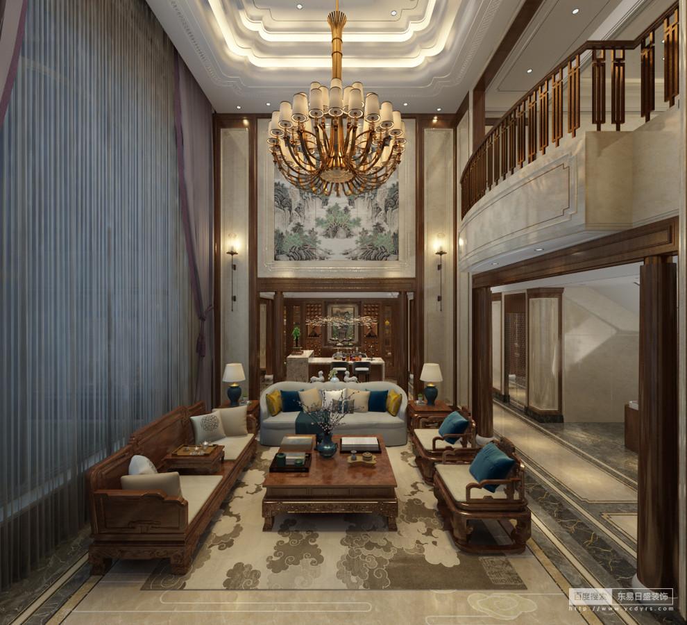 既然是中式空间,色彩亦取之于传统的中式意象。除了木质本身的颜色外,以米白色 作为空间的主色调,在丰盛华丽的表象下,也存在着考究的冷静,在静谧中蕴含 巨大的能量。客厅沙发和窗帘统一使用高级灰,呈现出柔和、高雅的美感,沉淀 出一份自在与优雅。客厅的窗帘、沙发、地面表现的灰色深浅不一,却统一在和谐 的规则中,看似随意而简约的风情中,体现与现代理念不谋而合的精神内核——平衡。