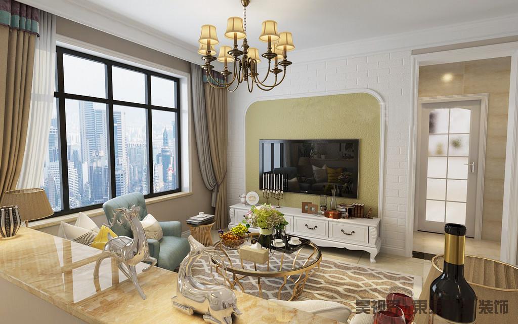 客厅的背景墙以方拱形凸显出田园之雅,再加上绿色硅藻泥的粗糙,与白色砖石构成一种朴质;美式复古电视柜和整体的家具搭配出功能之美,和色彩和谐,让生活更为多趣。
