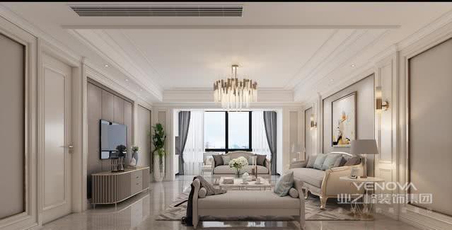 在搭配上面,客厅的大理石瓷砖搭配金属元素和石膏线条,加上一些闪亮的装饰元素作为点缀,轻松得缔造出让人无限回味的空间。采用比较浅的色系,让整个空间都带有着一种静谧与雅致。