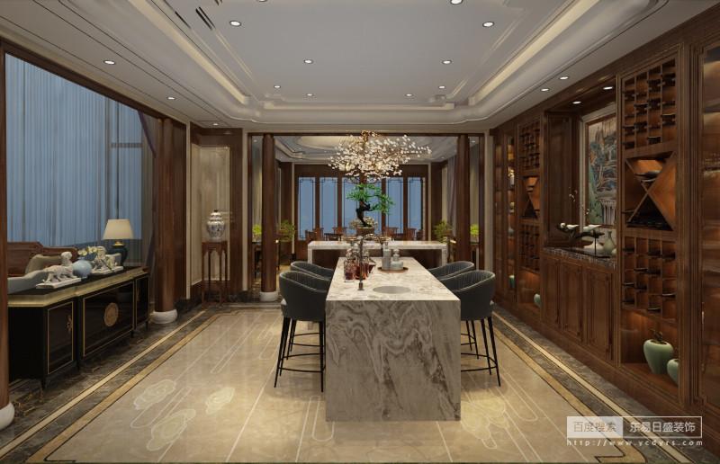 与中式厨房注重实用不同的是西厨更加注重情调,在整个空间中,简化的博古架、 中式山水画、案台上的青花瓷器无一不在展现着浓厚的中式文化,同时大理石餐桌 和极具现代意味的座椅,将中、西各自的优点完美糅合在一个空间之中。