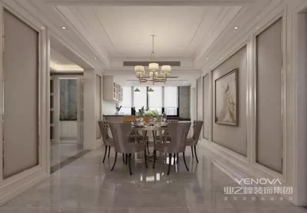 深灰色的餐桌搭配,与众不同的款式,都体现出了一种奢华之中的品质感。而由于这个地方的空间比较大,因此设计师在靠近窗户的地方就做了一个小吧台的设计,增添了一份休闲的感觉。
