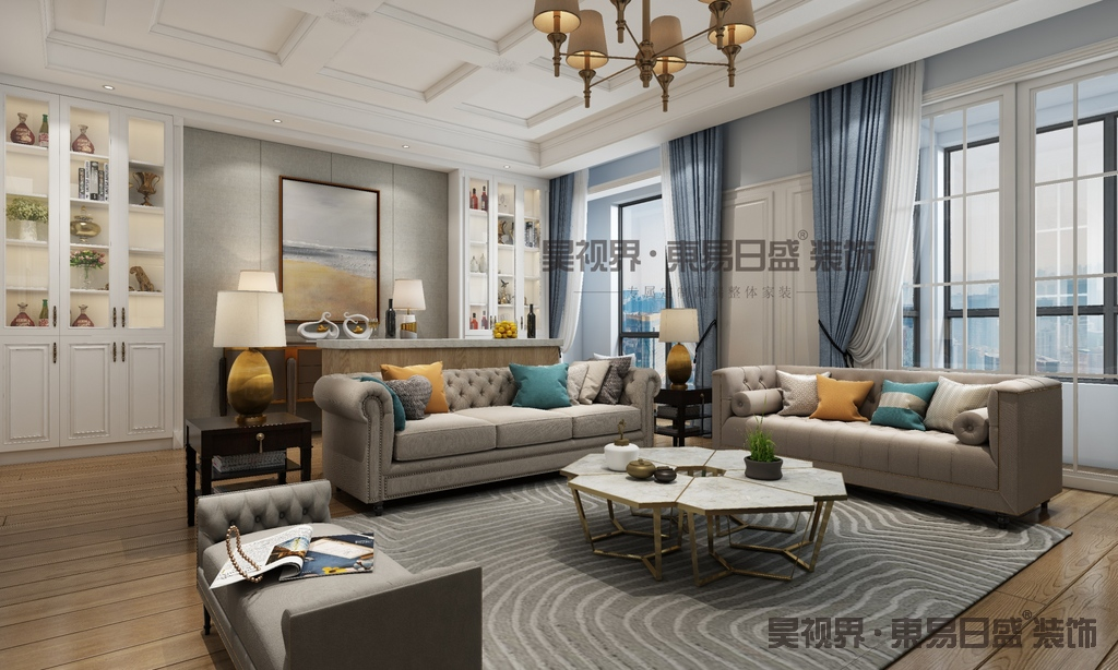 浅灰色竖条纹布艺沙发,搭配不同颜色的抱枕,带来风格迥异的效果。蓝灰色的墙面给我们别有一番味道。