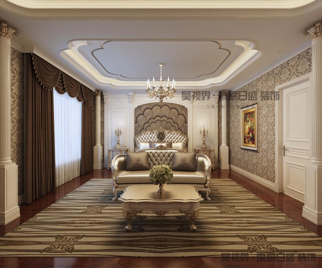 色彩上对比明确,浅色丝光质感墙纸及深色墙纸提升质感,紫色,金色互补在浅色基调架构起高贵典雅的清新浪漫环境。