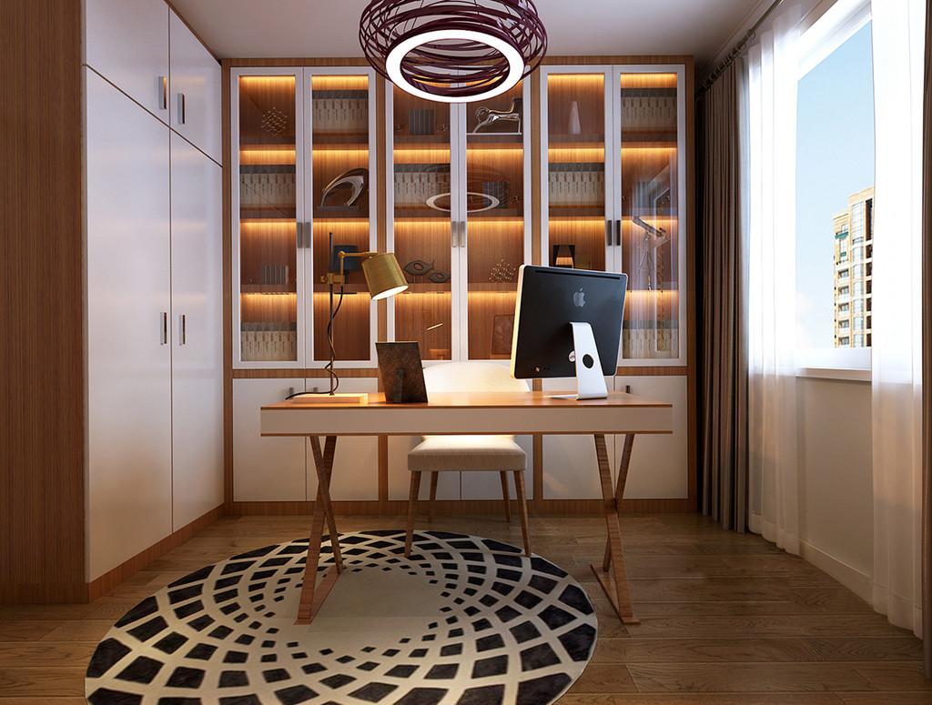 白色干净纯粹,而原木色静润平和,互相协调搭配在书柜和书桌上,呈现出的状态带着雅致与自在;铺陈的地毯和悬挂的吊灯,线条的演绎极富视觉感,瞬间提升了空间的时尚格调;宽敞的玻璃窗,带来良好的采光,让空间氛围舒缓怡然。